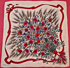 """ITALY-VINTAGE GUCCI LOGO BUNCH WILDFLOWERS WHITE RED GREEN SILK 34"""" SQUARE SCARF"""