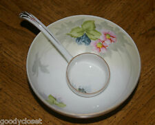 NIPPON FINE CHINA HAND PAINTED FOOTED MAYO BOWL AND LADLE FLORAL PATTERN