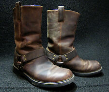 Mens RJ COLT (SZ 9) Harness Motorcycle Boots..brown leather with great patina!