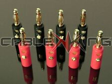 8 x 4mm Banana Plugs 24k Gold Plated Speaker Cable Amp HiFi Connectors