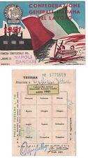 Tessera CGIL Bancari Napoli 1951 Confederazione Generale Italiana del Lavoro