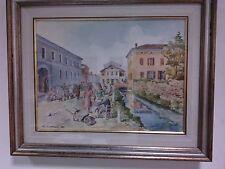 Quadro dipinto acquerello acquarello veduta di Crema Cesare Calzari