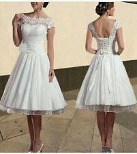 Vintage Knee Length White/Ivory Lace Wedding Dress Size 6-18 UK
