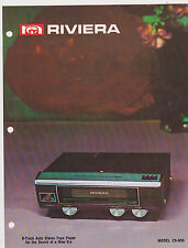 VINTAGE AD SHEET #2408 - 1973 RIVIERA ELECtRONICS - AUTO 8-TRACK TAPE PLAYER