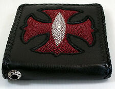 IRON MALTESE CROSS GENUINE STINGRAY SKIN LEATHER BIKER MENS WALLET FOR CHAIN NEW