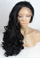 60CM Long Wavy Lace Front Wig Synthetic Hair Wig Black Color
