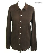 COTELAC - BLOUSE LONG SLEEVES BROWN TAILLE 3 = 42 - EXCELLENT CONDITION