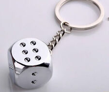 Polished Chrome Silver Smooth Surface Dice Key Chain Ring Keychain Keyring #23