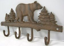 Iron Bear Key Rack Country Rustic Wall Key Holder Bears Coat Rack Hat Hook