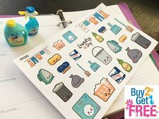 PP292 -- Kawaii Laundry Day Icons Life Planner Stickers for Erin Condren (26pcs)