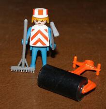 Playmobil personnage vintage klicky ouvrier avec rouleau compresseur 3314 ref jj