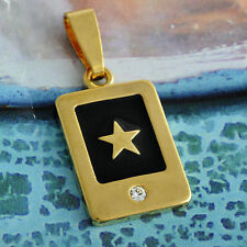 Gold Plated Black Enamel Crystal Star Pendant For Mens Womens Boys Punk Jewelery