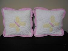 2 QUILTED BED OR THROW PILLOWS - PINK AND WHITE WITH YELLOW BUTTERFLY