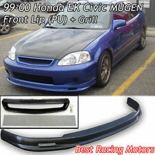 Mu-gen Style Front Lip (PU) + TR Style Grill (Mesh) Fits 99-00 Honda Civic 2dr