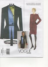 Vogue Pattern 2045 Geoffrey Beene Color Block Designer SUIT Jacket Skirt 8-10-12