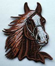 RACING BROWN HORSE HEAD Embroidered Iron on Patch + Free Shipping