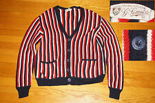 VINTAGE Gucci 100% Wool Made in Italy  Sweater Cardigan black red stripe EC  46