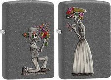 "Zippo Lighter-Two Lighter Set ""Romantic Skulls"""" No 28987 on Ironstone Finish"