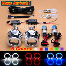 "New 2.5"" Bi-Xenon HID Projector Kit Lens Angel Eye Halo + Bulbs Relay Shroud"