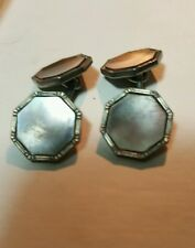 Art Deco Double Sided Grey Tone Mother of pearl cufflinks