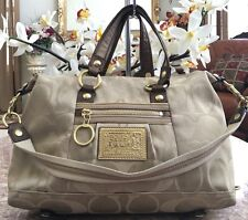 Coach Poppy Khaki/Bronze Op Art Outline Glam Satchel Shoulder Bag Purse 15860