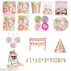 1st Birthday Girl Jungle Safari Pink Tableware Party Decoration Animals
