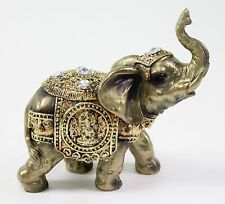 "Feng Shui 5"" Bronze Elephant Trunk Statue Wealth Lucky Figurine Gift Home Decor"