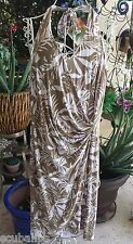NEW Tommy Bahama Halter Dress Medium Stretch Brown & White Leaves Women's $138