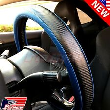 2016 Premium Blue 3D Carbon Fiber Leather Steering Wheel Cover Protector Slip-On
