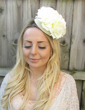 Cream Ivory Rose Flower Pillbox Hat Fascinator Headpiece Races Ascot Vtg 1931