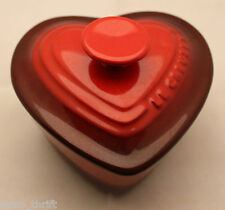 Le Creuset Stoneware Heart Shaped Ramekin Mimi Cocotte With Lid Cherry Red 0.3L