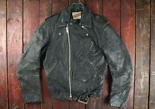 VTG 70s SCHOTT PERFECTO BLACK COWHIDE LEATHER MOTORCYCLE JACKET BIKER USA XS 34