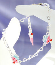 925 Sterling silver childrens cupcake charm bracelet