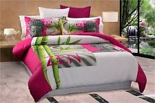 New Zen Garden Buddha Queen Size Quilt / Doona Cover Set Pink White Georges
