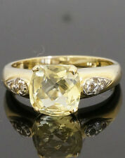 9Carat Yellow Gold Lemon Citrine Solitaire Ring w/ White Topaz Accents (Size N)