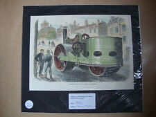 Genuine Hand Coloured Antique Print of a Steam-Roller. by Anon