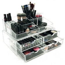 NEW! DELUXE MAKEUP/JEWELRY ORGANIZER - LARGE ACRYLIC TIERED DRAWER COSMETIC CASE