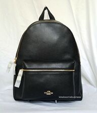 COACH Black Leather Backpack Large Laptop Tablet Campus Book Bag F38288 NWT