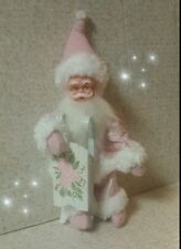 VINTAGE PINK KNEE HUGGER CHRISTMAS SANTA Shabby Chic ELF Hand Painted Roses Sled