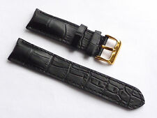 Top Quality Lug 22mm Black Genuine Leather Alligator Strap Replacement Guess