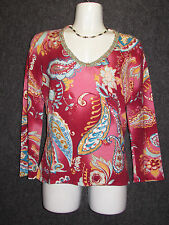 ALBERTO MAKALI Colorful Abstract Paisley Sequin Beaded Blouse SZ L