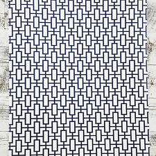 Double Roll Navy White Modern Contemporary retro Geometric Designer Wallpaper