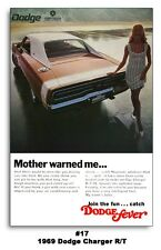 24x36 1969 DODGE CHARGER R/T MOTHER WARNED ME AD POSTER 383 440 426 HEMI SE