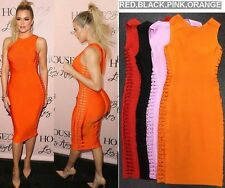 ladies orange/red/black/PINK side hollow out stretch bandage Party dress S M L