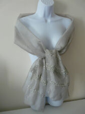 NEW MONSOON ACCESSORIZE LADIES GREY SHEER CHIFFON SEQUIN SHAWL WRAP SCARF