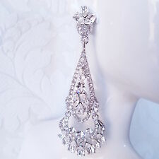 Long Art Deco 1920s Style Rhinestone Crystal Bridal Wedding Chandelier Earrings