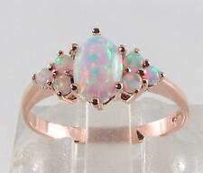 LOVELY 9K 9CT ROSE GOLD AAA AUSTRALIAN OPAL CLUSTER RING FREE RESIZE
