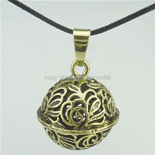 Bronze Gingle Bell Ball Musical Sound Seal Cage Pendant Chime Bell 39mm Necklace