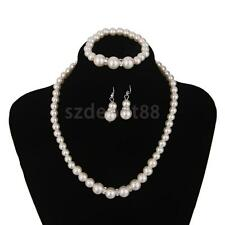 White Pearl Jewellery Set Wedding Bridal Bridesmaid Gift Necklace Earrings