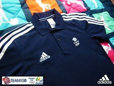 ADIDAS TEAM GB ISSUE -TRAINING FOR RIO 2016 -ATHLETE NAVY BLUE COTTON POLO SHIRT